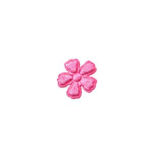 Applicatie bloem NEON roze satijn effen mini 15 mm (ca. 100 stuks)