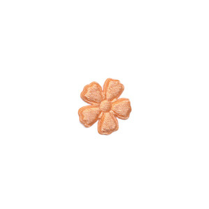 Applicatie bloem zalm/oranje satijn effen mini 15 mm (ca. 100 stuks)