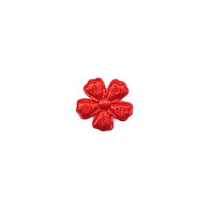 Applicatie bloem rood satijn effen mini 15 mm (ca. 100 stuks)