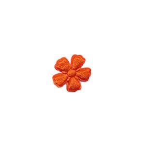 Applicatie bloem oranje satijn effen mini 15 mm (ca. 100 stuks)