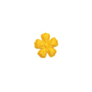 Applicatie bloem warm geel satijn effen mini 15 mm (ca. 100 stuks)