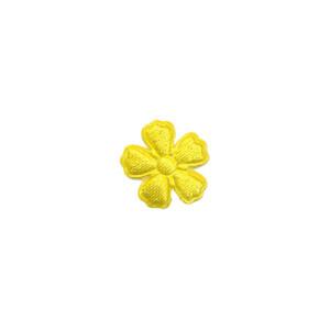 Applicatie bloem geel satijn effen mini 15 mm (ca. 100 stuks)