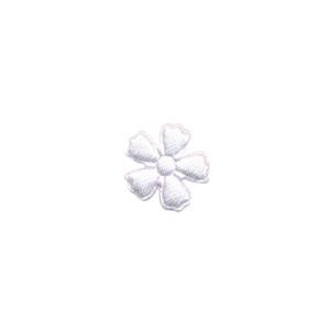 Applicatie bloem wit satijn effen mini 15 mm (ca. 100 stuks)
