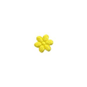 Applicatie bloem geel satijn effen mini 10 mm (ca. 100 stuks)