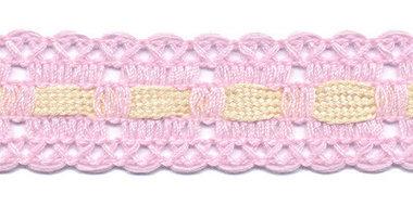 Roze kant met creme ingevlochten bandje 25 mm (ca. 16 meter)