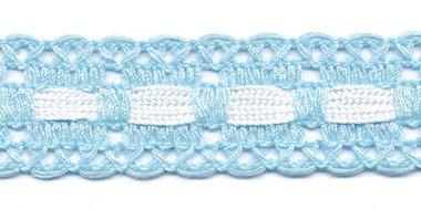 Licht blauw kant met wit ingevlochten bandje 25 mm (ca. 16 meter)