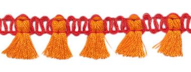 Band met kwastjes rood-oranje 15 mm (ca. 16 meter)