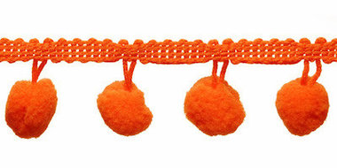 Pompom band oranje 20 mm (ca. 16 meter)