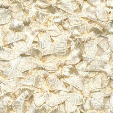 Satijnen strikjes ivoor (ca. 100 stuks)