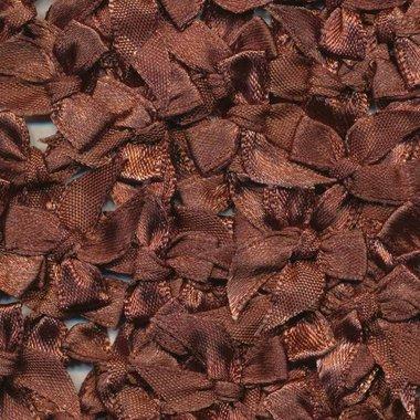 Satijnen strikjes donker bruin (ca. 100 stuks)