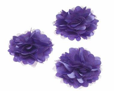 Bloem stof paars ca. 5 cm (5 stuks)