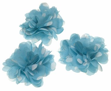 Bloem stof aqua met witte stippen ca. 7 cm (5 stuks)