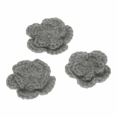 Gehaakte bloem grijs ca. 40 mm (10 stuks)