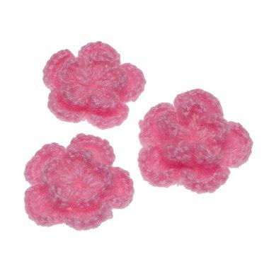 Gehaakte bloem roze ca. 40 mm (10 stuks)