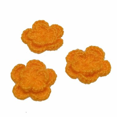 Gehaakte bloem oranje ca. 40 mm (10 stuks)