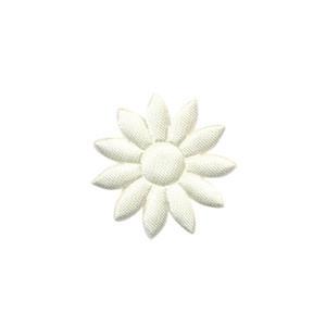 Applicatie bloem effen satijn creme met puntige blaadjes klein 25 mm (ca. 100 stuks)