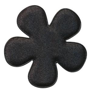 Applicatie bloem zwart satijn effen groot 47 mm (ca. 100 stuks)
