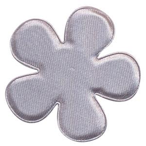 Applicatie bloem grijs satijn effen groot 47 mm (ca. 100 stuks)