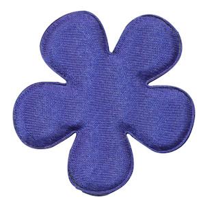 Applicatie bloem kobalt blauw satijn effen groot 47 mm (ca. 100 stuks)