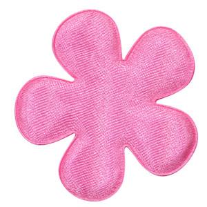 Applicatie bloem roze satijn effen groot 47 mm (ca. 100 stuks)