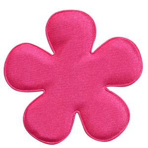 Applicatie bloem hard roze satijn effen groot 47 mm (ca. 100 stuks)
