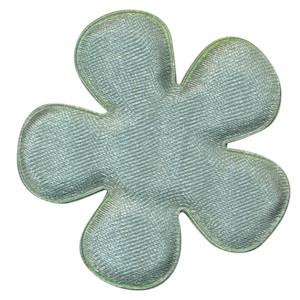 Applicatie bloem zeegroen satijn effen groot 47 mm (ca. 100 stuks)