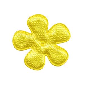 Applicatie bloem geel satijn effen middel 35 mm (ca. 100 stuks)