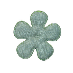 Applicatie bloem zeegroen satijn effen middel 35 mm (ca. 100 stuks)