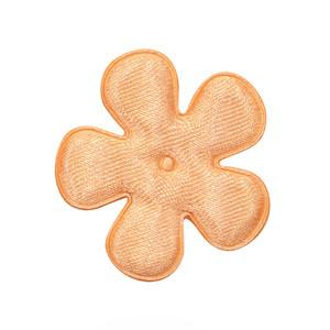 Applicatie bloem zalm/oranje satijn effen middel 35 mm (ca. 100 stuks)