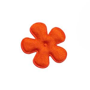 Applicatie bloem oranje satijn effen klein 25 mm (ca. 100 stuks)