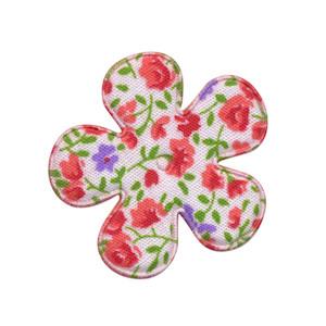 Applicatie bloem met bloemenprintje rood middel 35 mm (ca. 100 stuks)