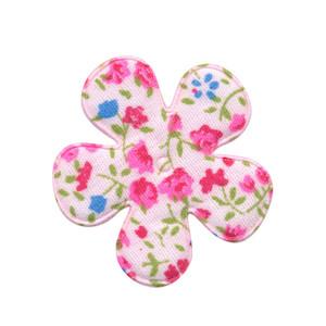 Applicatie bloem met bloemenprintje roze middel 35 mm (ca. 100 stuks)