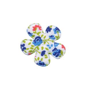 Applicatie bloem met bloemenprintje blauw klein 25 mm (ca. 100 stuks)