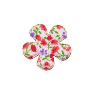 Applicatie bloem met bloemenprintje rood klein 25 mm (ca. 100 stuks)