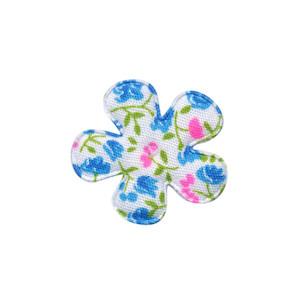 Applicatie bloem met bloemenprintje aqua klein 25 mm (ca. 100 stuks)