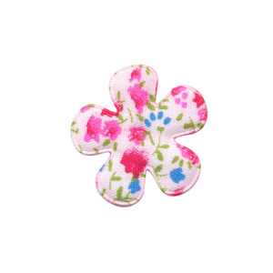 Applicatie bloem met bloemenprintje roze klein 25 mm (ca. 100 stuks)