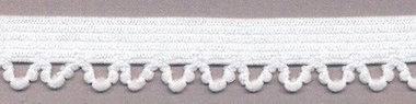 Elastisch kant wit met lusjes sierrandje 12 mm 0382/12C (ca. 10 m)