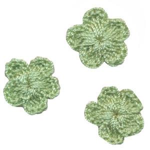 Gehaakt bloemetje mint-/appelblauwzeegroen 20 mm (10 stuks)