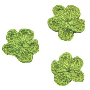 Gehaakt bloemetje groen 20 mm (10 stuks)