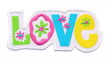 Opstrijkbare applicatie 'Love' wit (5 stuks)