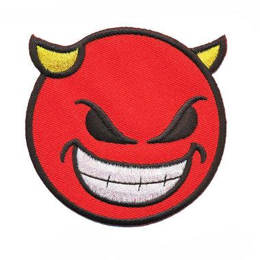 Opstrijkbare applicatie (d)evil smiley rood (5 stuks)