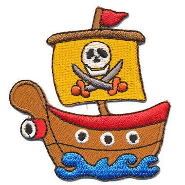 Opstrijkbare applicatie piratenschip (5 stuks)