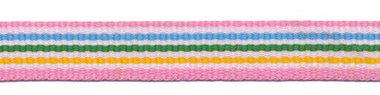 Roze-wit-blauw-wit-groen-wit-geel streep grosgrain/ribsband 10 mm (ca. 25 m)