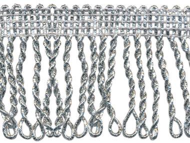 Franjeband gedraaid zilver lurex ca. 50 mm (ca. 5 meter)