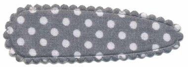 Haarknip met haarkniphoesje grijs met witte stip / polkadot 5 cm (ca. 100 stuks)