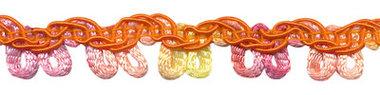 Multicolor lusjesband oranje-geel-zalm-roze 12 mm (ca. 16 meter)