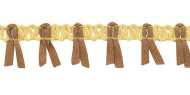 Band met suedine zachtgeel-camel 17 mm (ca. 16 meter)