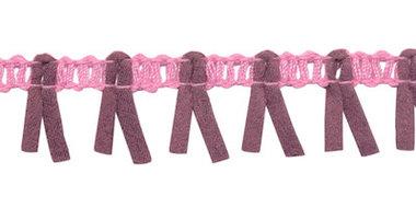 Band met suedine roze-oud paars 17 mm (ca. 16 meter)