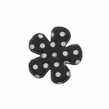 Applicatie bloem zwart met witte stippen katoen klein 25 mm (ca. 100 stuks)