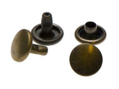 Holniet bronskleurig staal 9 mm met dubbele kop (ca. 1000 sets)